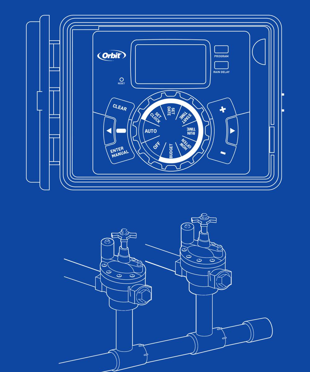 طرح نقاشی کنترلر آبیاری اوربیت آمریکا همراه با شیر های برقی